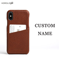 Italian vegetable tanned leather for iphone X case full wrapped cell phones case custom logo