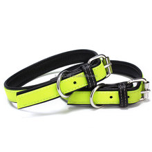 High quality fluorescent green Genuine Leather dog collar