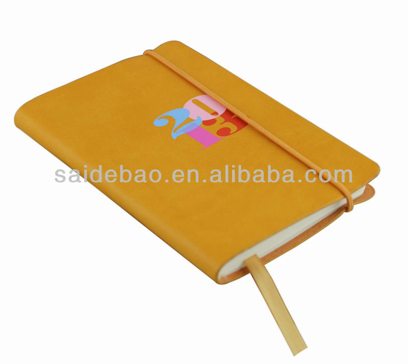A5 softcover notebook/notepad, Personalized leather diary notebook with Round elastic rope and pen holder