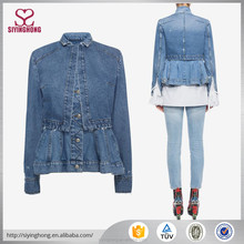 2017 Customized Design cool style Girls Denim Jacket for lady and women