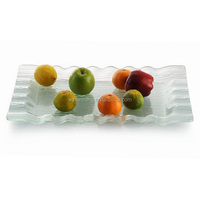 New design wave edge rectangular platter clear faux glass acrylic display sushi and fruit serving tray