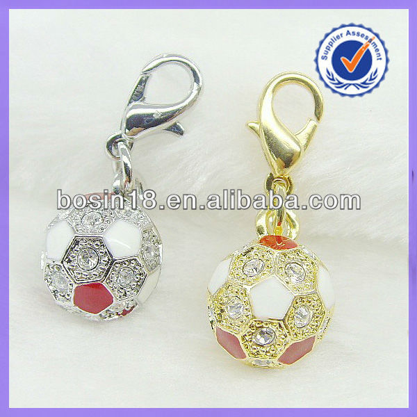 Enamel Soccer Pendant Charms with Lobster Clasps #18003
