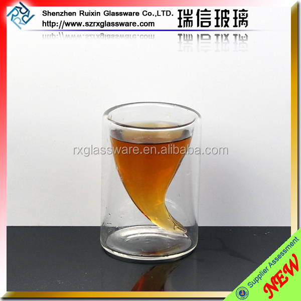 50ml drinking horn shaped shot glass,double wall borosilicate glass