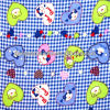100% Cotton Blue Bear and Heart Printed Flannel Fabric For Baby 20s*10s