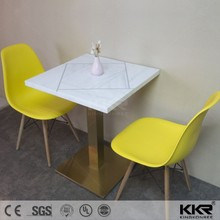 Square marble stone top dining table and chairs