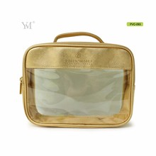 transparent gold pvc clear cosmetic clutch bag with zipper