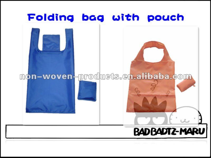 Nylon folding bag with pouch