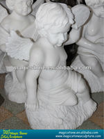 natural marble boy and girl garden statue
