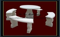 White Marble Table with Bench Seating