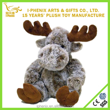 Happy Christmas Toy Sitting Deer Plush Stuffed Brown Deer Toy