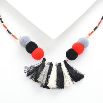 fashion pompom necklace tassel necklace wholesale beaded necklace jewelry