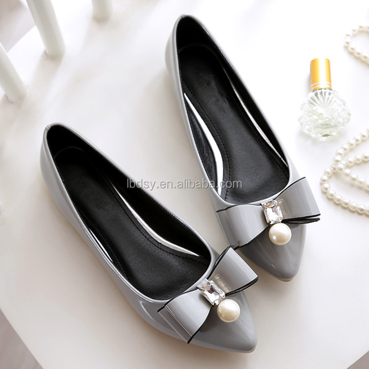 pearl sweet bowknot pointed toe leather womens shoes