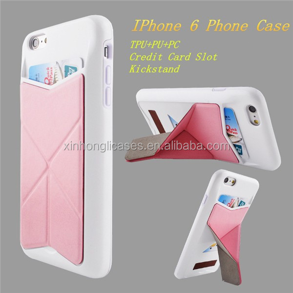 High Quality Phone Case With Credit Card Slot and Kickstand for IPhone 6, For IPhone 6 TPU+PU+PC Case, 3 in 1 Phone Case
