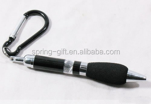 fashion carabiner with badge holder /metallic badge reel ball point pen set