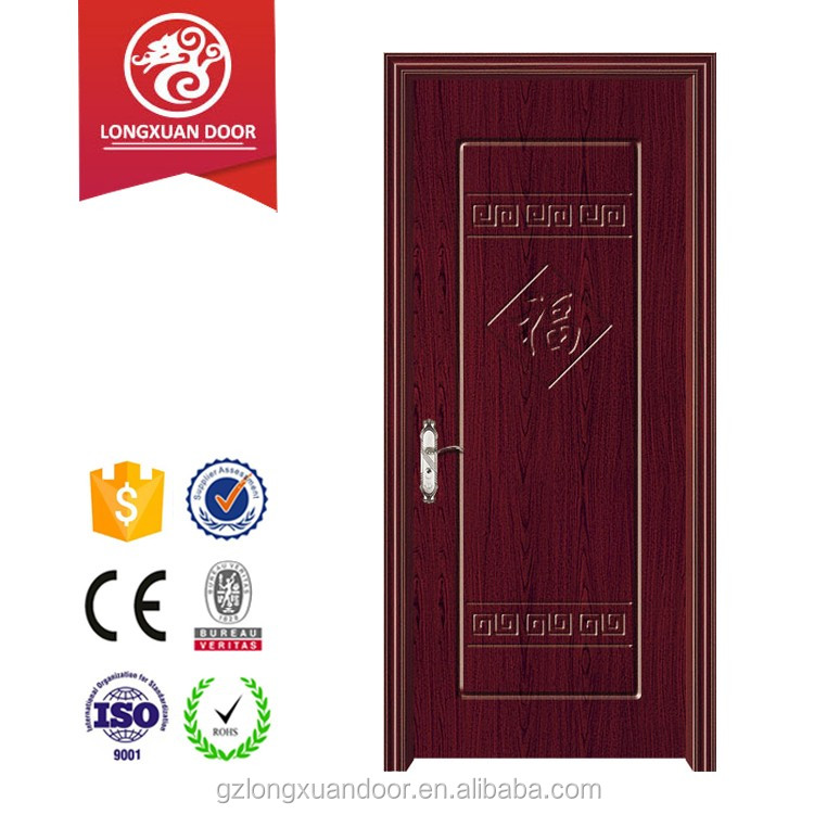 Dark red lacquer finished MDF laminated wood panel main gate design PVC door