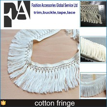 2015 new arrival fashion long 7.5cm width off white wholesale Cotton Carpet Knotted fringe for new design