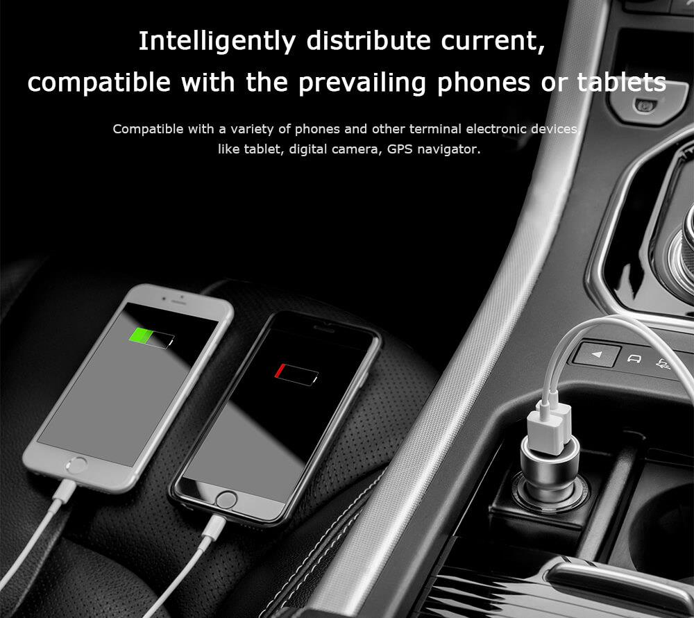 Original Xiaomi Roidmi C1 Car Charger Metal Body Dual USB Port 5V 3.6A Quick Charger Smart Charging Universal For iPhone iOS And Android (4)
