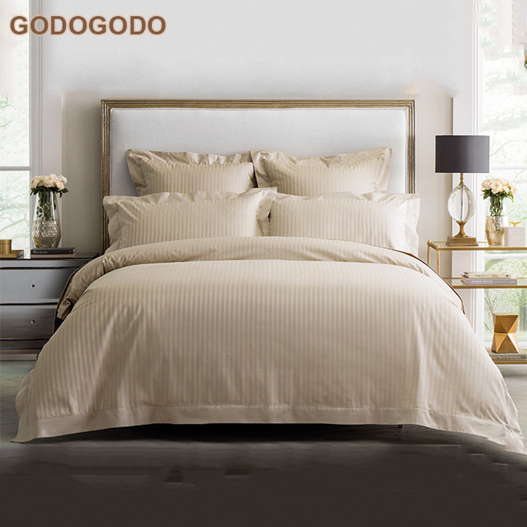 Wholesale Price Luxury 0.5Cm Satin Stripe Bedsheets Bedding 100% Cotton Eco-Friendly 5 Star Hotel Comforter Sets