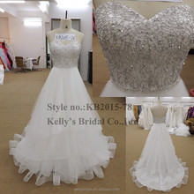 2015 new design bodice with sequin and crystal horse hair skirt wedding dresses in dubai