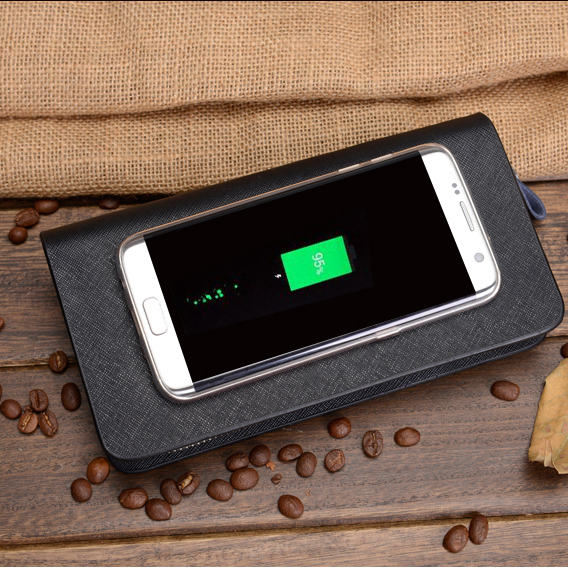 Genuine leather Charging Wallet power bank wallet
