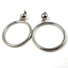 5% discont!!! Wedding Jewelry wholesale hollow circle silver color stainless steel creole hoop earring aretes 40 mm diameter