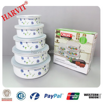 5pcs Enamel Bowl with plastic cover