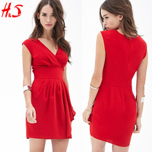 China lady clothing supplier mature women fashion pleated and gathered front short red dresses lady indian latest dress