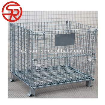 Metal Folding Steel Pallet Cages Wire Mesh Container