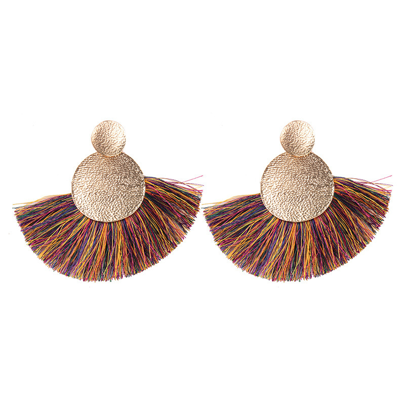YWMT 2018 New Year Wholesale Exaggerated Bardian <strong>18</strong> <strong>K</strong> Gold Foil Short Tassel Jadau Earrings For Women