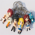 Custom fairy tail anime cartoon keychain pendant 3d pvc cartoon character figure keyring