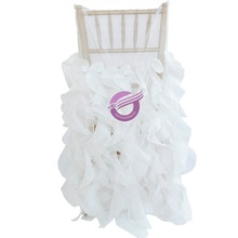 YT00172 Fancy sheer organza ruffled white wedding chair cover