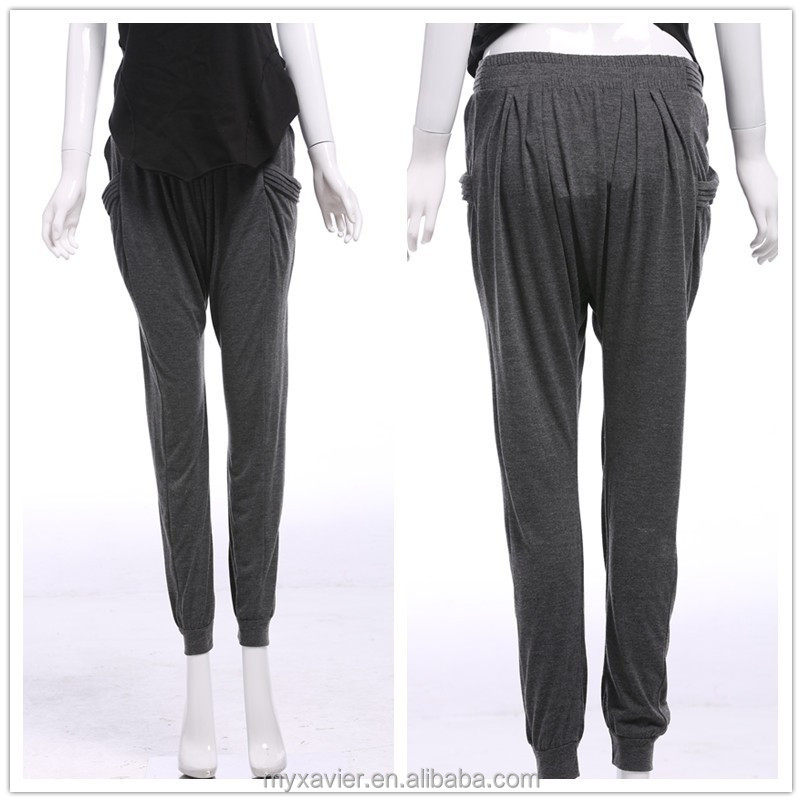 2015 New fashion spring autumn rayon plain gray lady baggy harem pants wholesale