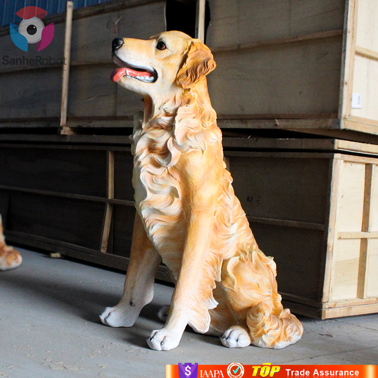 Zoo Decoration Attractive life size outdoor dog statues resin