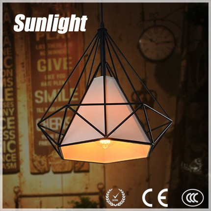 Hot Sell Modern Vintage Industrial Loft Black Wire fabric shade diamond iron Pendant Light Lamp For Dining Room