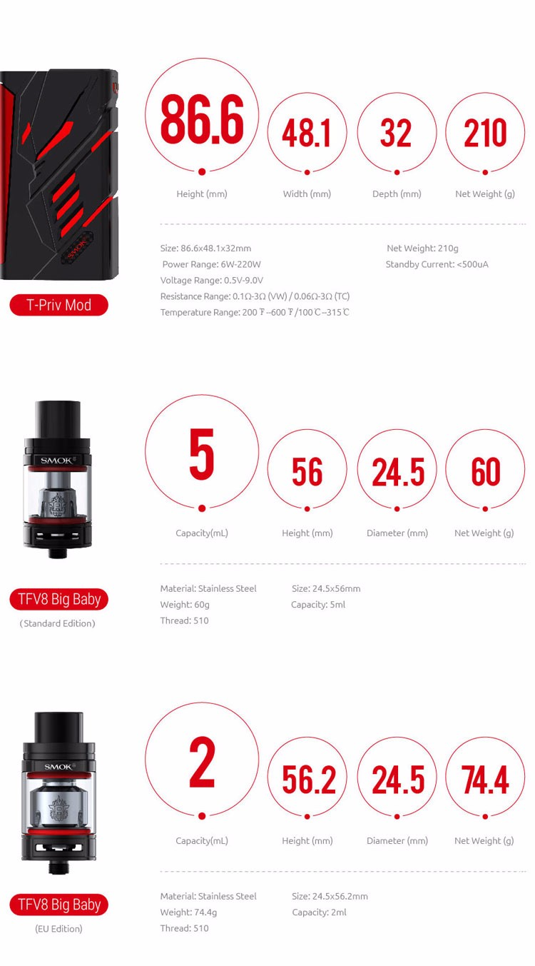 OLED Screen 220W T Priv 2ml/ 5ml T-Priv SMOK TPriv Kit