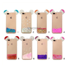 New Luxury Silicone Diamond Bling Glitter Mickey Ears Rhinestone Transparent Cases , Soft Tpu Case For iPhone 7 7 Plus