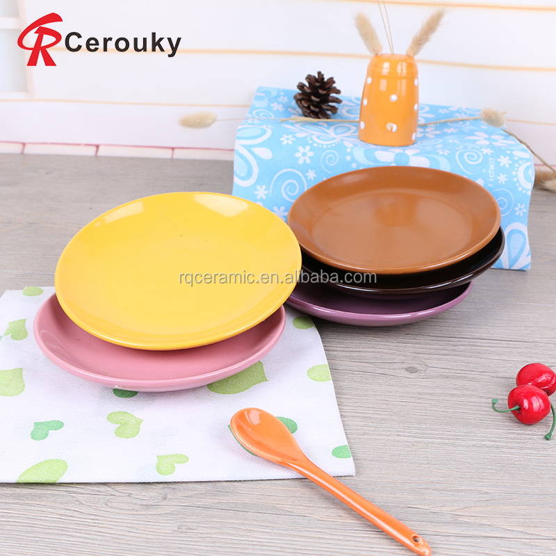 Custom various color microwave oven safe ceramic dish plate