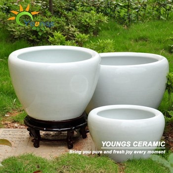 Special large chinese white ceramic fish flower pots
