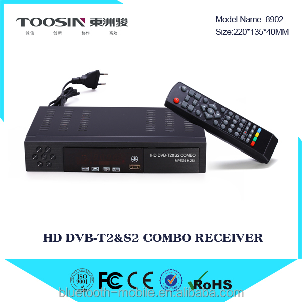 2016 most popular in Africa Ghana dvb t2 +s2 combo decoder with powervu biss factory price made in China