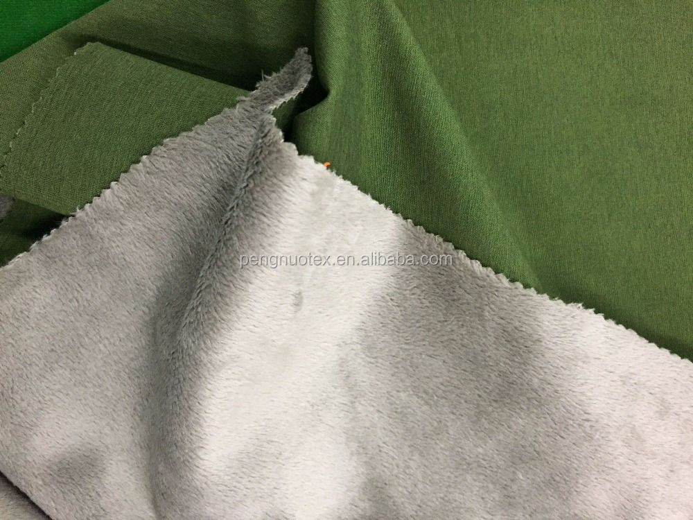high quality softshell fabric/cationic melange color pongee bonded with short plush inside TPU film