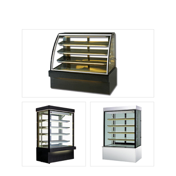 High quality commercial bakery display showcase counter curved glass refrigerator cake fridge price