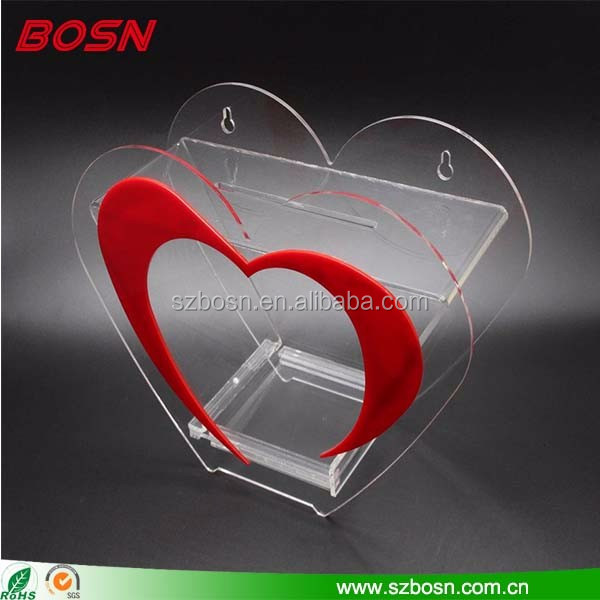 High quality wall mounted clear wholesale acrylic donation money box for charity