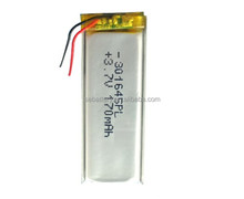 Small Rechargeable Lithium polymer battery 301645 170mAh 3.7V