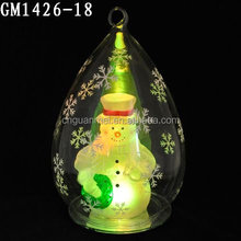 led christmas glass globe with snowman