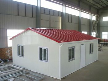 USD 100 /m2 low-cost prefab house, built on concrete floor, with two-slope roof----big cheap labour house!