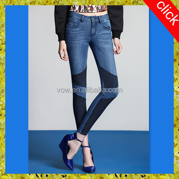 Three color matching show thin woman narrow bottom jeans pants/Sexy slim skinny jean, designer clothing manufacturers in china