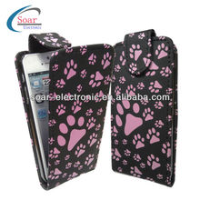 simple style pu for iphone 5 hot pink paw leather case
