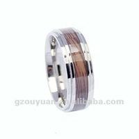 Wooden tungsten carbide ring, Charming tungsten ring with red wood inlaid, Wedding ring