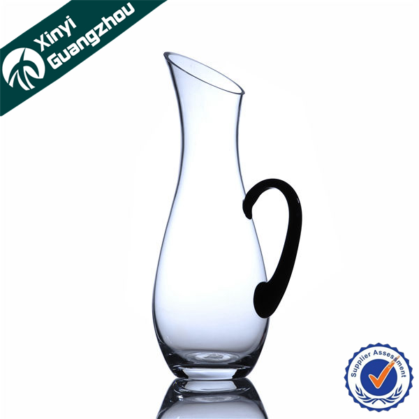 Hand Blown Colored Clear Wine Glass Bottle Whiskey Decanter With Handle