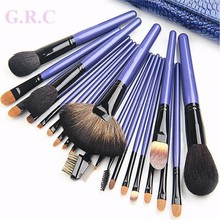 Private label 22 pcs Professional makeup brush, Hot sale Brush set make up, Wholesale cheap Wood handle Goat hair make up brush